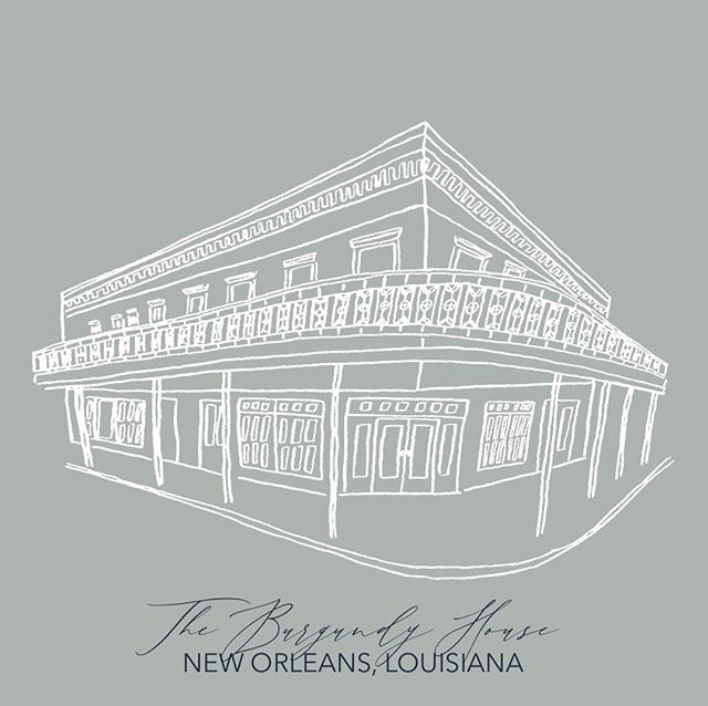 """""""Hurricane"""" Barry only took my internet, was an inch shy of flooding my car, and made us a little stir crazy but we came out the other side 🙃 hoping y'all weathered the storm well too!! •  The Burgundy House will be added to my illustration library available on my website VERY soon. Also still taking recommendations on venues to add!! • #nolacalligraphy #nolawedding #weddingsuite #illustration #venueillustration #burgundyhouse #nola #nolavenue"""