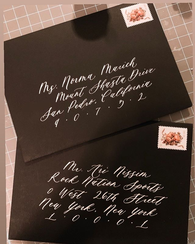 "Sharing an ""un-styled"" photo of some of my calligraphy because hubs reminded me that everything on Instagram doesn't have to be so picture perfect 🙃 •  And when your client says yes to black envelopes, just YES!! • • #blackenvelopes #moderncalligraphy #neworleanscalligraphy #neworleanscalligrapher #calligraphy #nolacalligrapher #thatlacommunity"