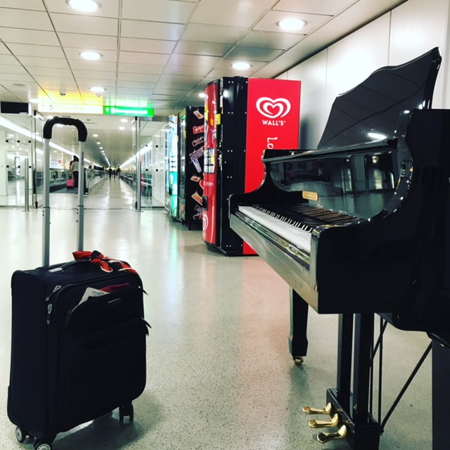 Travel and piano and pianos in airports reminding me to get back to practicing for my final recital.