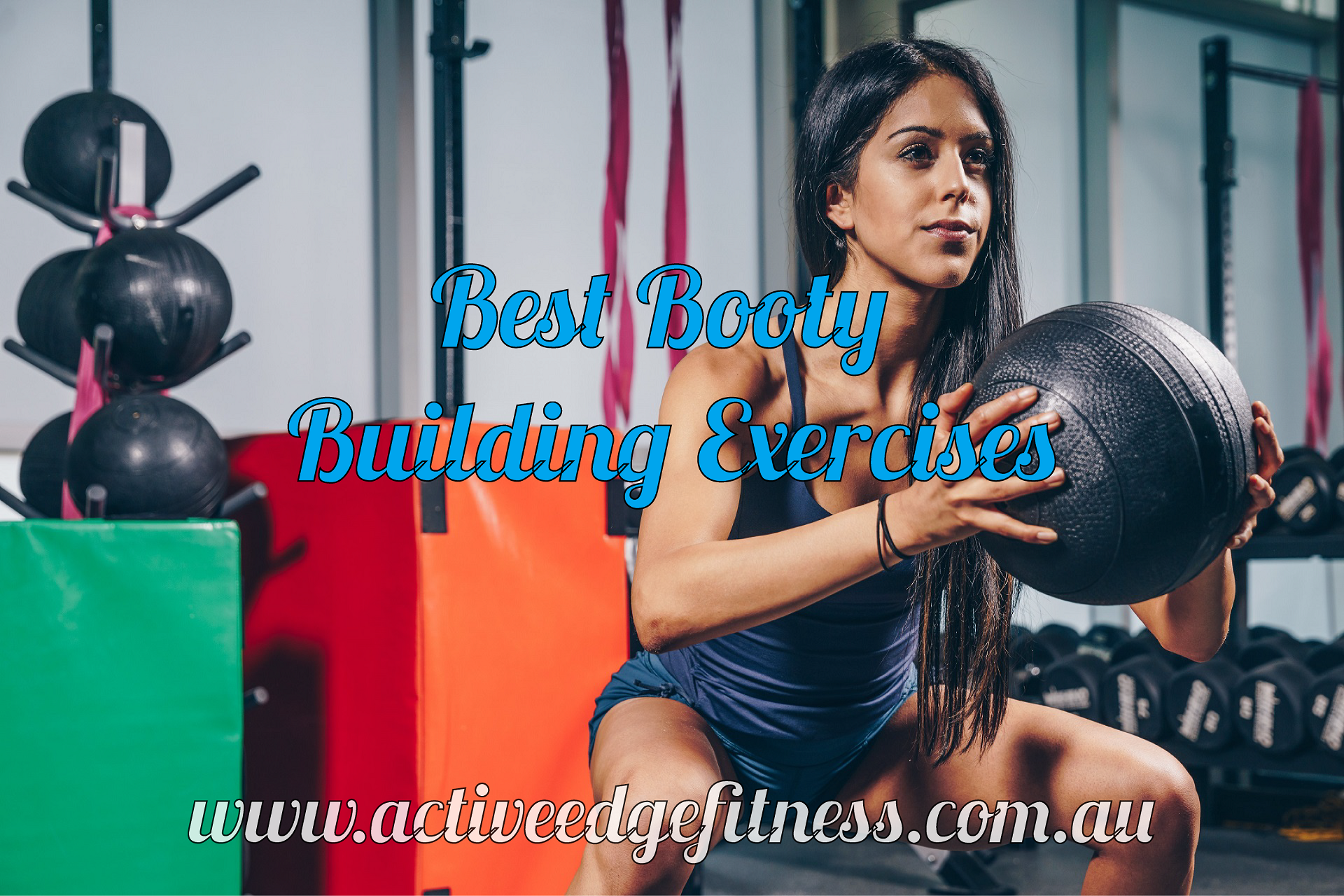 """Woman performing a squat with the caption """"Best Booty Building Exercises"""""""