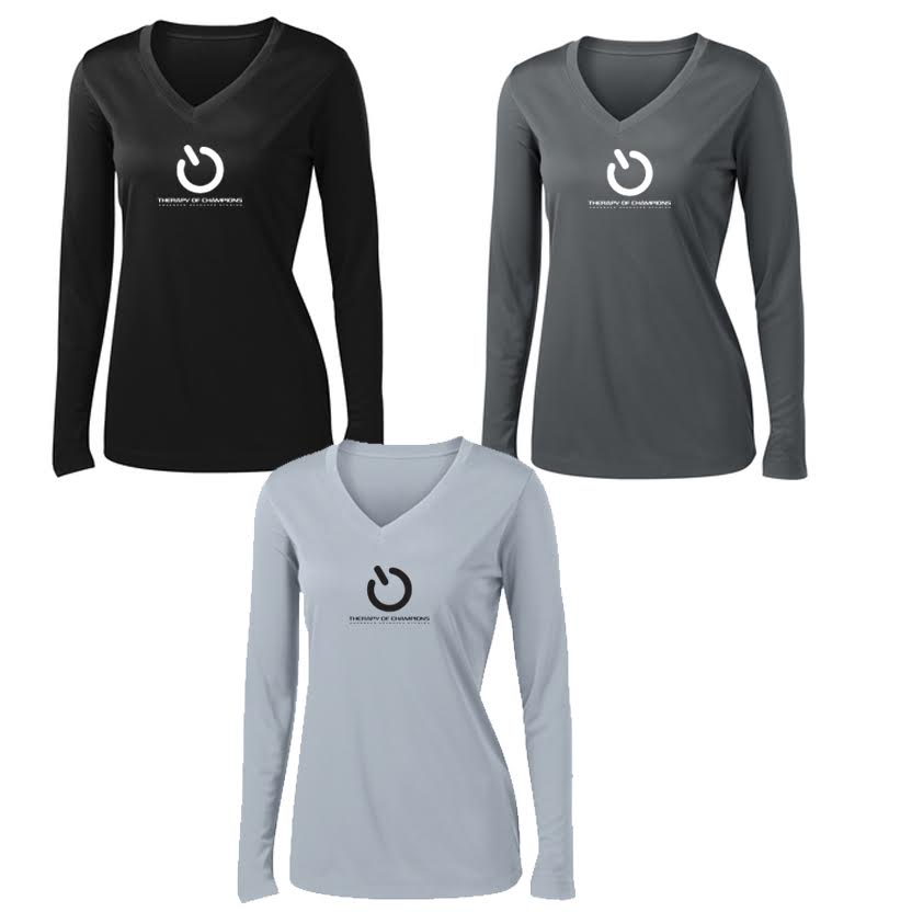 TOC Women's V-Neck Dri Fit Long Sleeve Tee