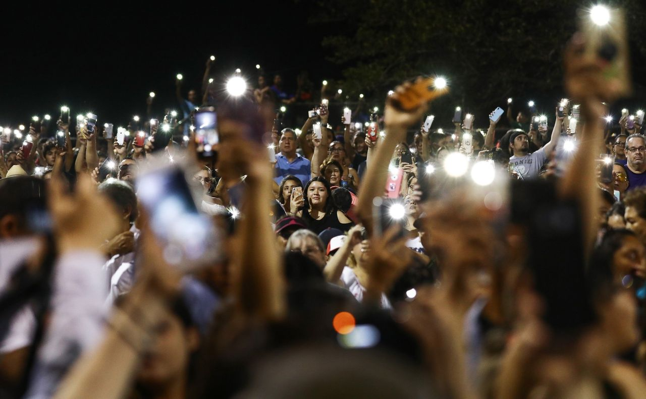 A vigil held Sunday evening for victims of the mass shooting in El Paso. Photography by Mario Tama/Getty Images