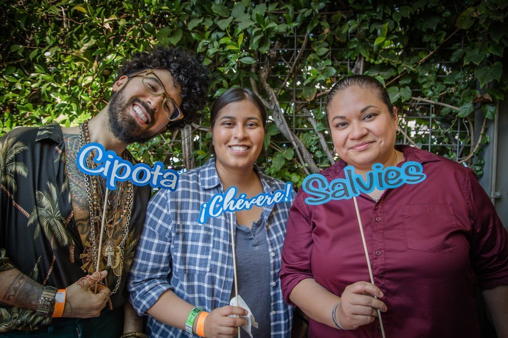 From Salvies Who Lunch's annual event ¡Chévere! showcases influential Salvadorans like Pero Like's Curly Velasquez (far left). Founder of Salvies Who Lunch, Cynthia Gonzalez, is on the far right. Photography via     L.A. Taco