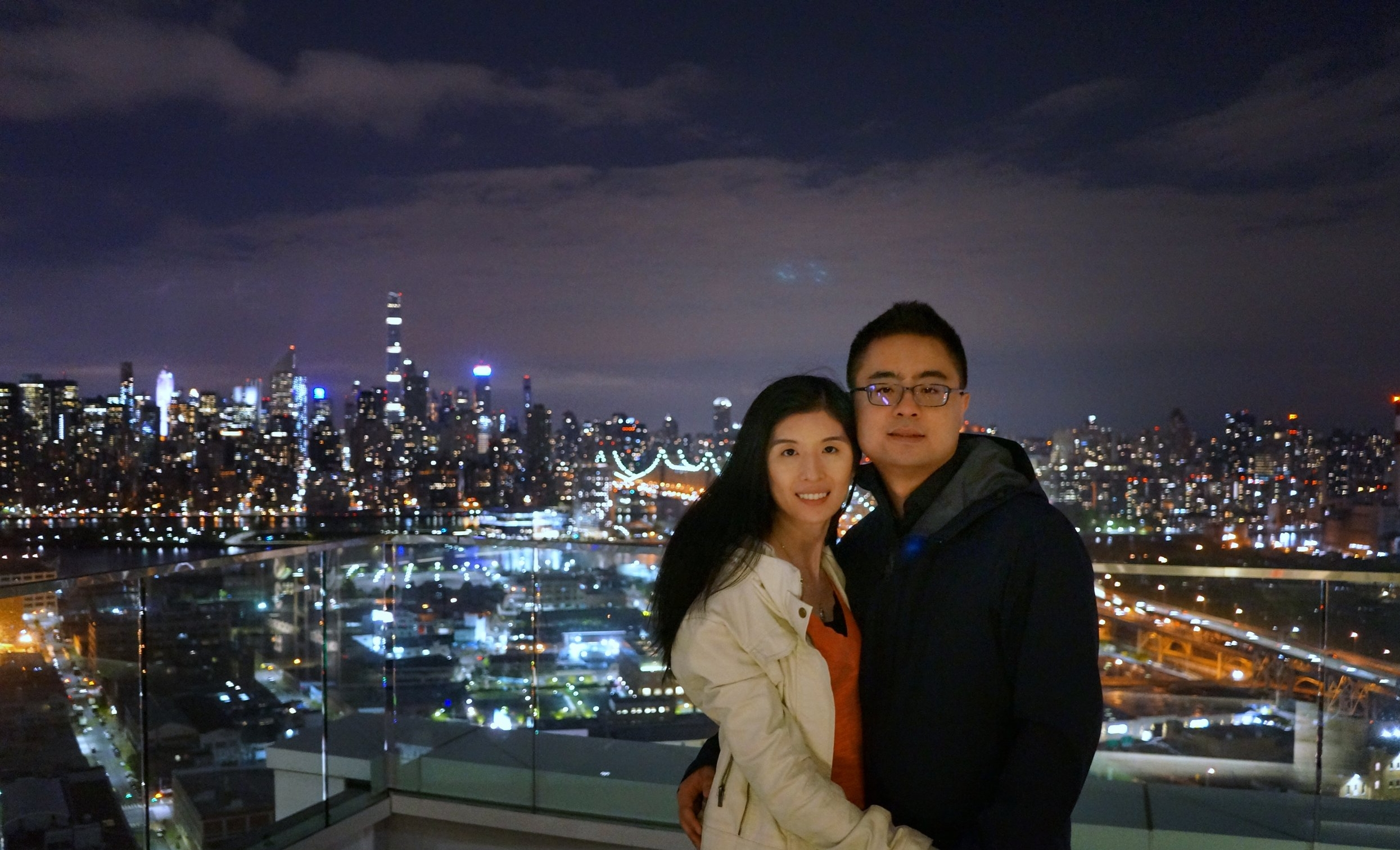 At the rooftop of a couple of our friend's apartment. It overlooks manhattan!