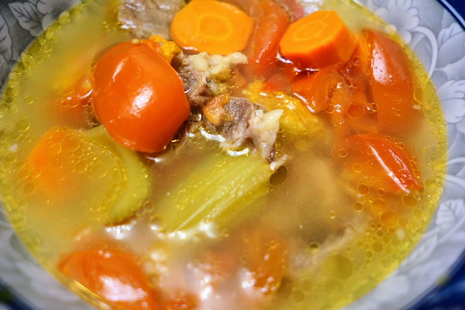 Delicious hearty oxtail soup with lots of love and vegetables