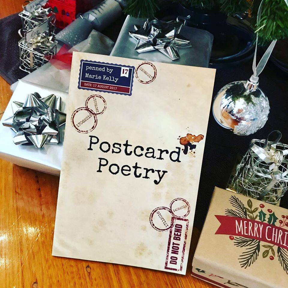 Postcard Poetry is a collection of Marie's poems that were written whilst travelling. A number of these poems haven't been published online. The book also features photographs of the locations where each poem was written. - Pictured: a photograph of Postcard Poetry for a Christmas campaign.