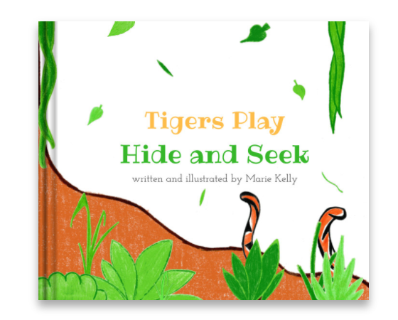 Tigers Play Hide and Seek was originally written and illustrated by Marie when she was 14 years old. Twelve years later, she decided to rewrite and republish it to encourage more children to read. - Pictured: A production image of Tigers Play Hide and Seek