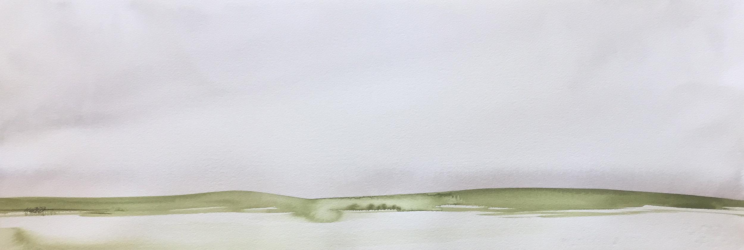 "long green hills  30"" x 10""  original $2750  archival print $525"