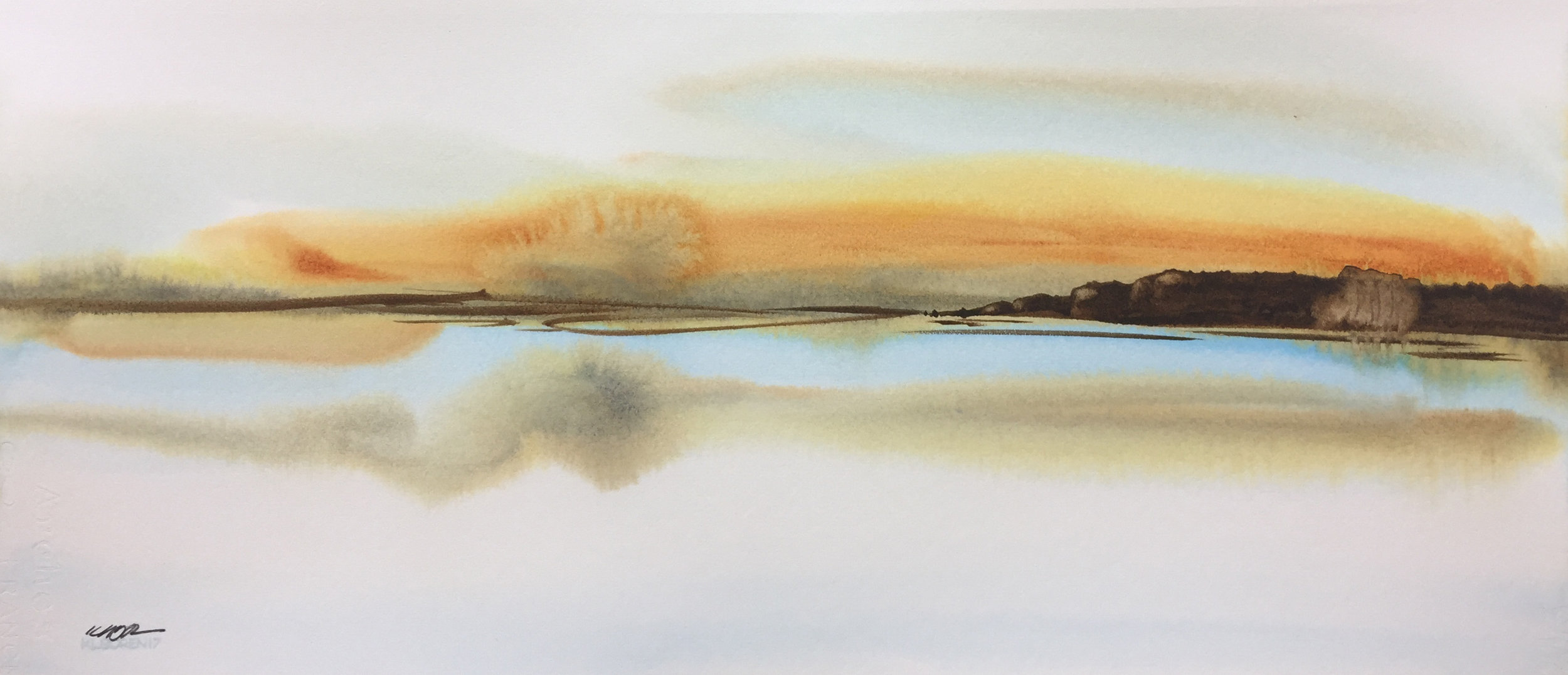 "on the water   9"" x 21""   original $1850   archival print $395"