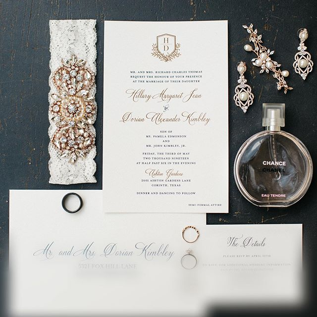You've got to coordinate!  These were such beautiful, simple and elegant wedding invitations by our friends at @papersource_highlandvillage  @ellerman_studio did a fantastic job and styling and capturing Hillary's details!  This was just a sneak peek and we can't wait for the full gallery to come out! eek!  #weddinginvitation  #dallaswedding  #dentonwedding  #ashtongardens  #dallasweddingplanner  #weddingplanner  #weddingdetails  #garter  #swanksoiree