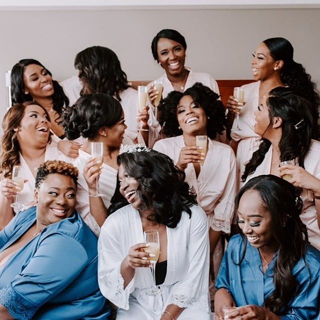Laughter is the best medicine. In good times and bad it really can soothe the soul!  Make sure on your wedding day you select #bridesmaids who will have your back and make you laugh. . . #dallasweddingplanner  #bride  #gettingready  #girlgang  #bridesquad  MUA: @unfilteredbytaye  @beatby_e 📸 @mrandmrsarcher