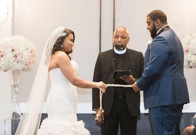 A cord of three strands is not easily broken. Ecc. 4:9-12 . . Photo: @cristyangulo 👰🏾 @charlenemccraney  Floral @hautefloral ⛪️ @aristidemckinney  Coordinator: Krystal Scott #marriagematters  #dallasweddingplanner  #husbandandwife  #ceremony