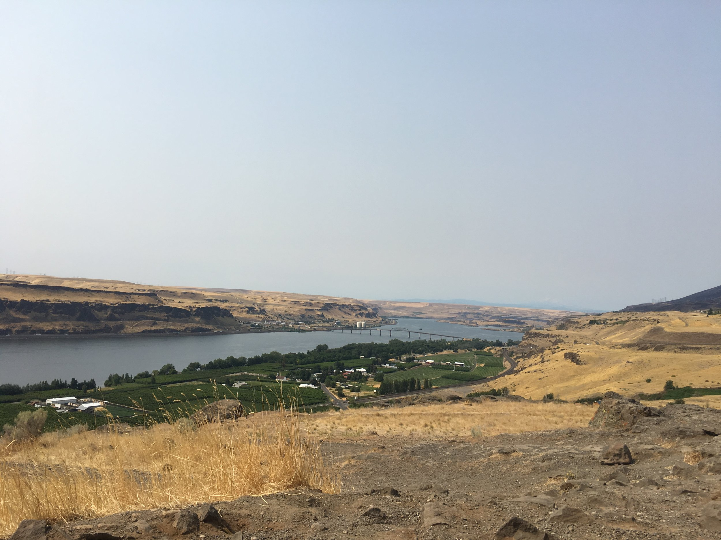 Hazy days in the Gorge.  You should normally be able to see Wy'east (Mt. Hood) clearly from this vantage point.