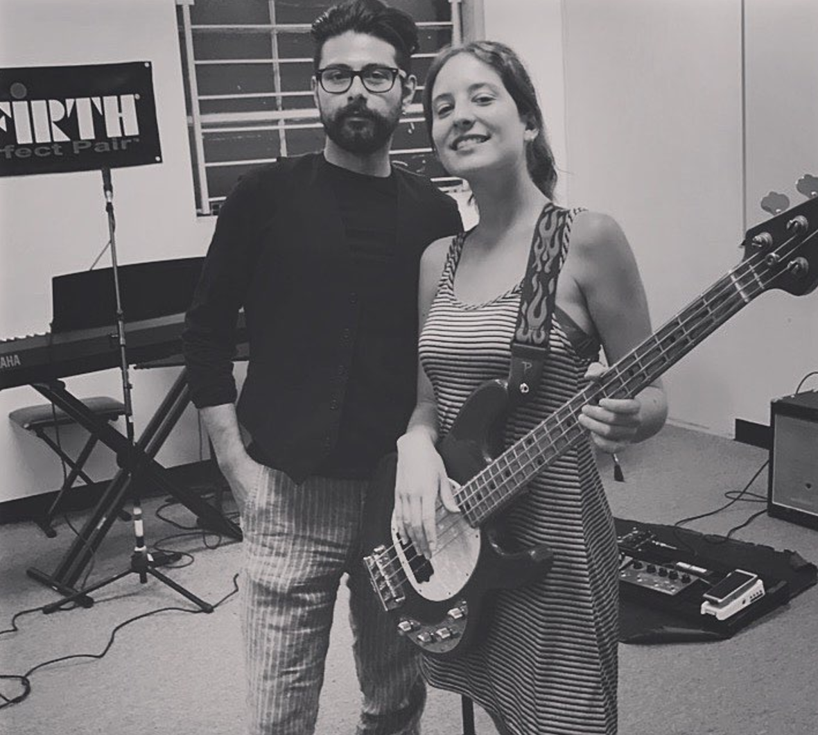 Benjamin Jay (left), Michelle Leclerq (right) at rehearsals in Pasadena California, 2017.