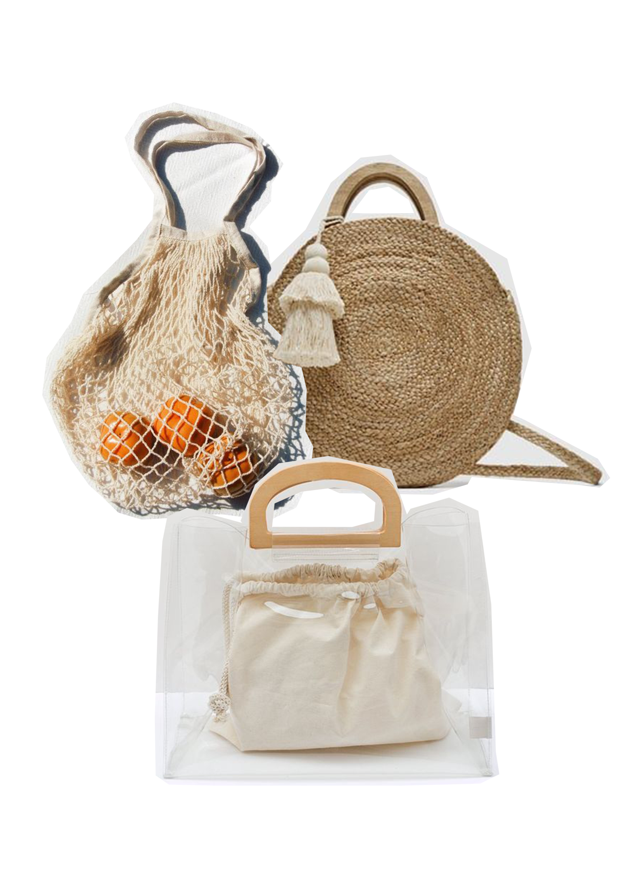 Beach Chic - Let's start with summer arm candy! I've realised recently that the smaller the bag the better, carrying less equals less stress and allows you to find what you need when you need it. Whether it's hand woven with straw, a little fruit/grocery net bag or your classic clear shopper. Pairing these items aren't as difficult as you think, you don't need to be a complete bohemian dream or a minimalist to wear any of these items. Just put on a pair of jeans, your favourite shirt and you're good to go!All items below are linked to buy online