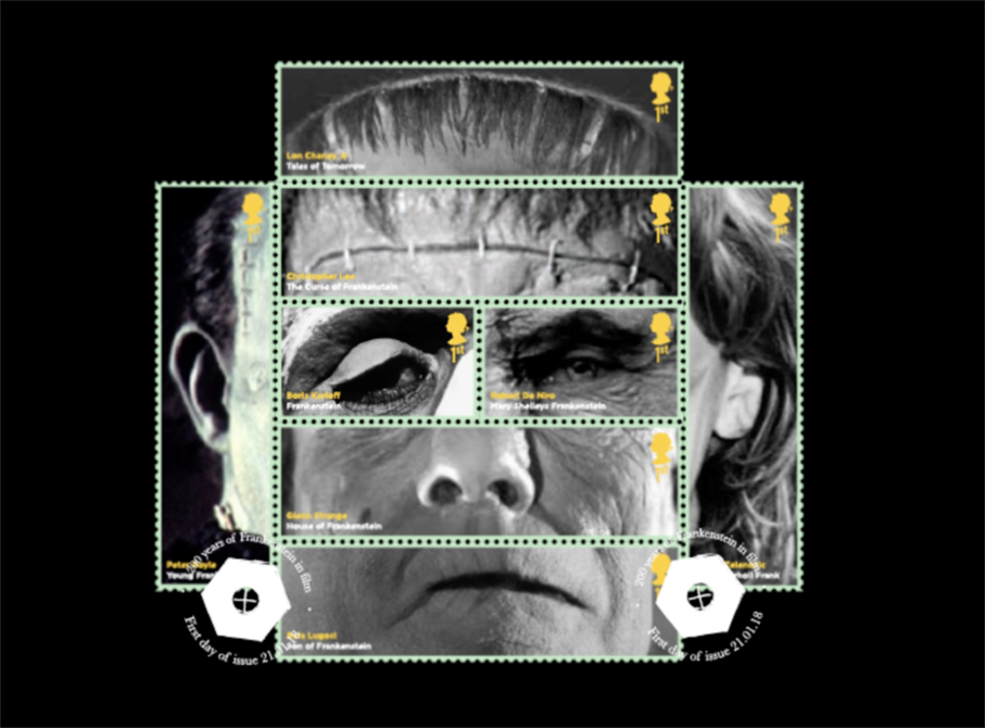 Composite Frankenstein's Monster made up from several classic actors portrayals