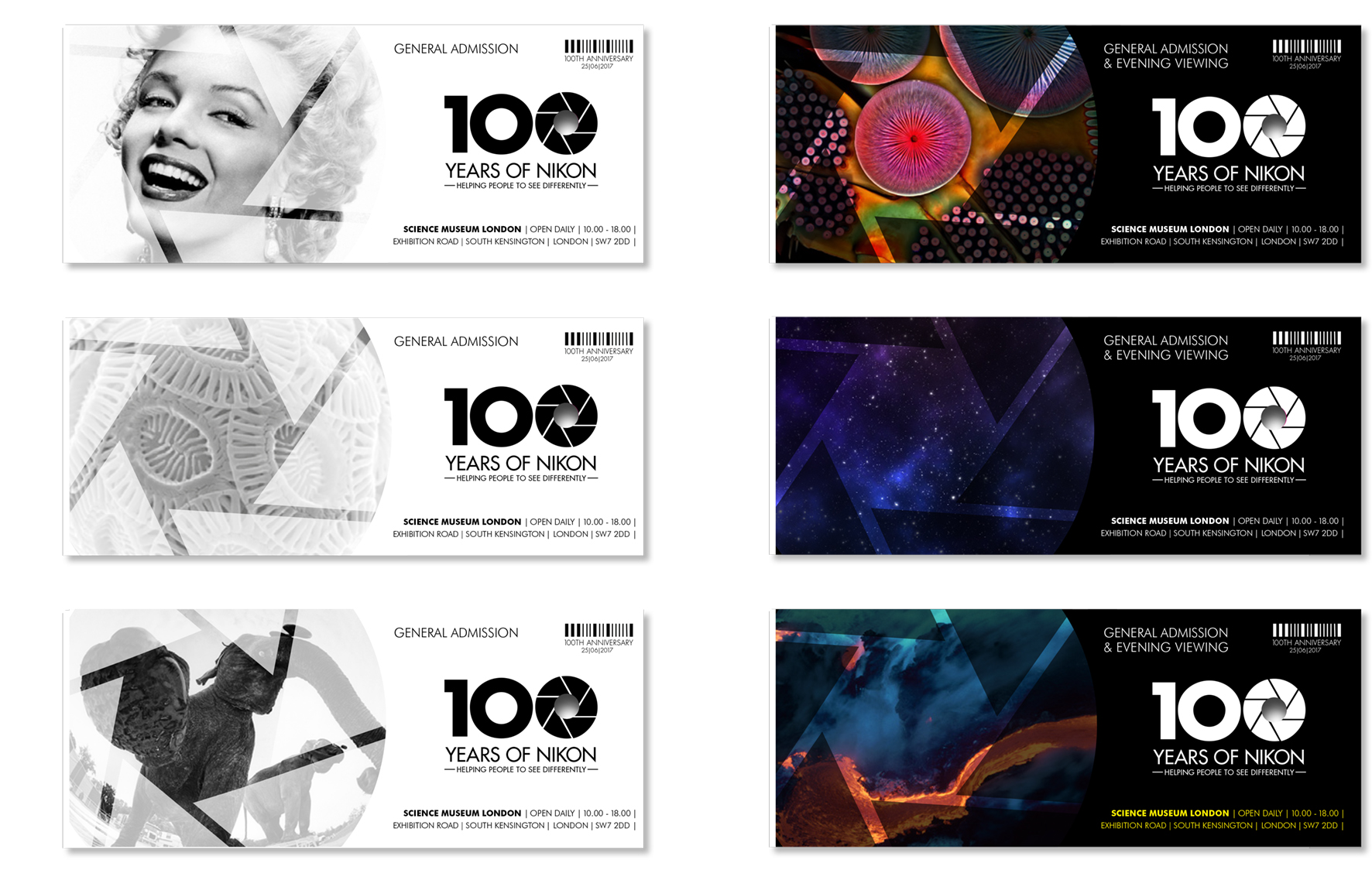 Exhibition ticket designs