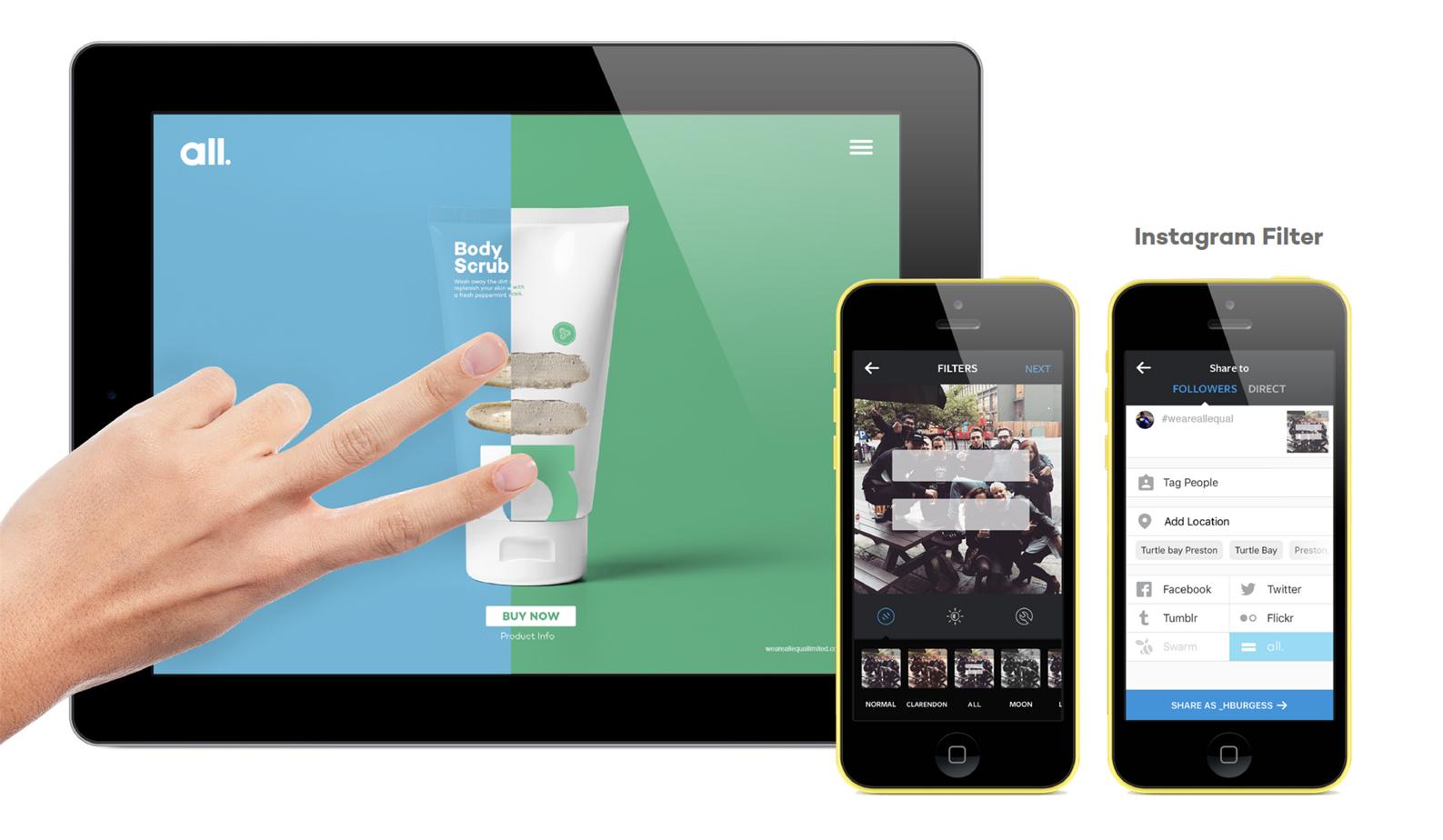 Finger swipe navigation & instagram filter concept - 'capture your moments of equality'