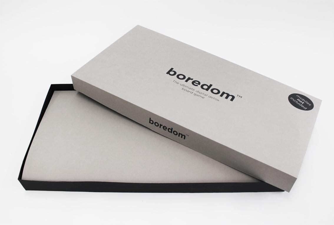 The Box - Silk screened black on Grey millboard