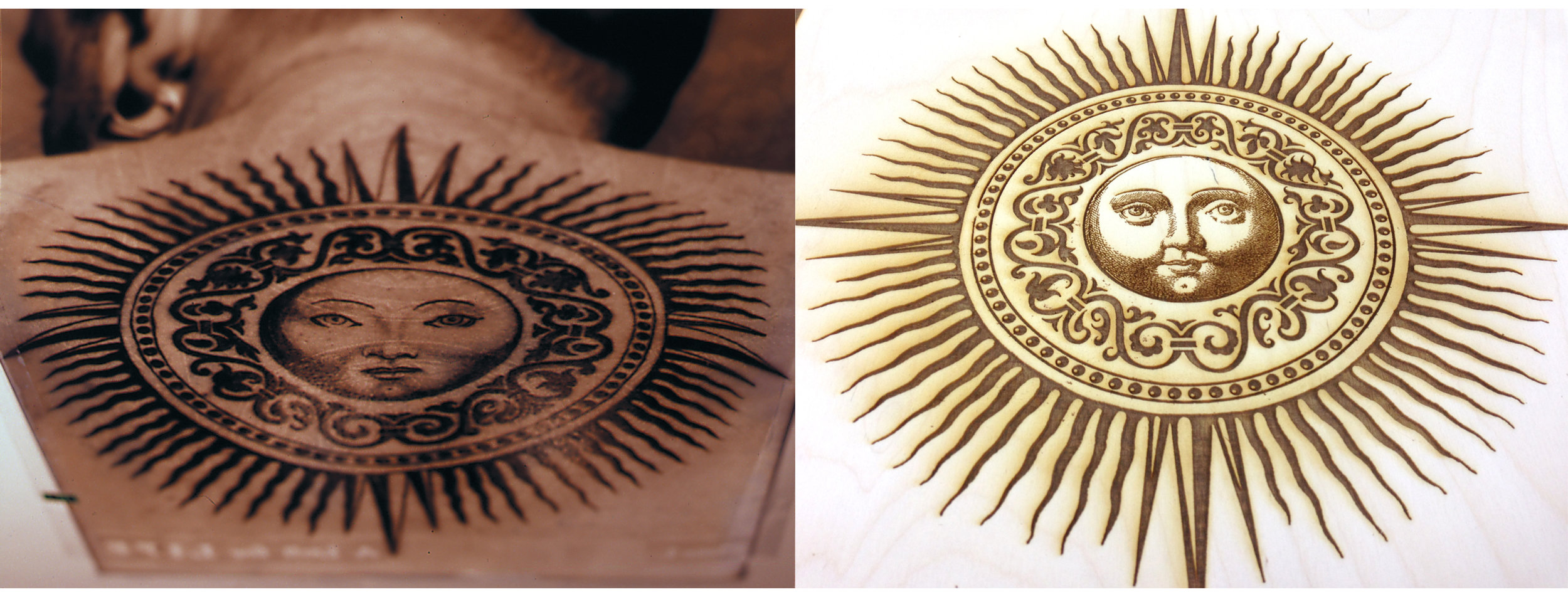 Original photographic print next to etched wood plate - 23 years apart