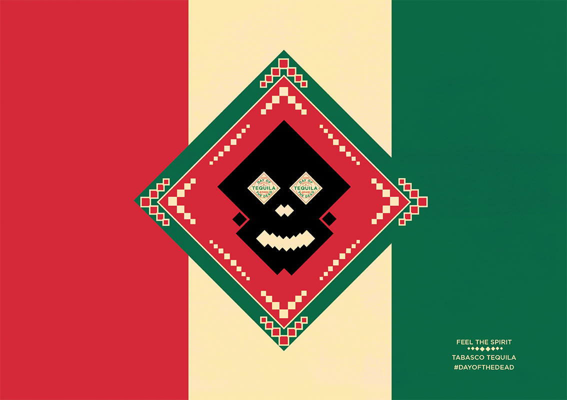 Mexican flag and skull motif made out of the iconic Tabasco diamond label