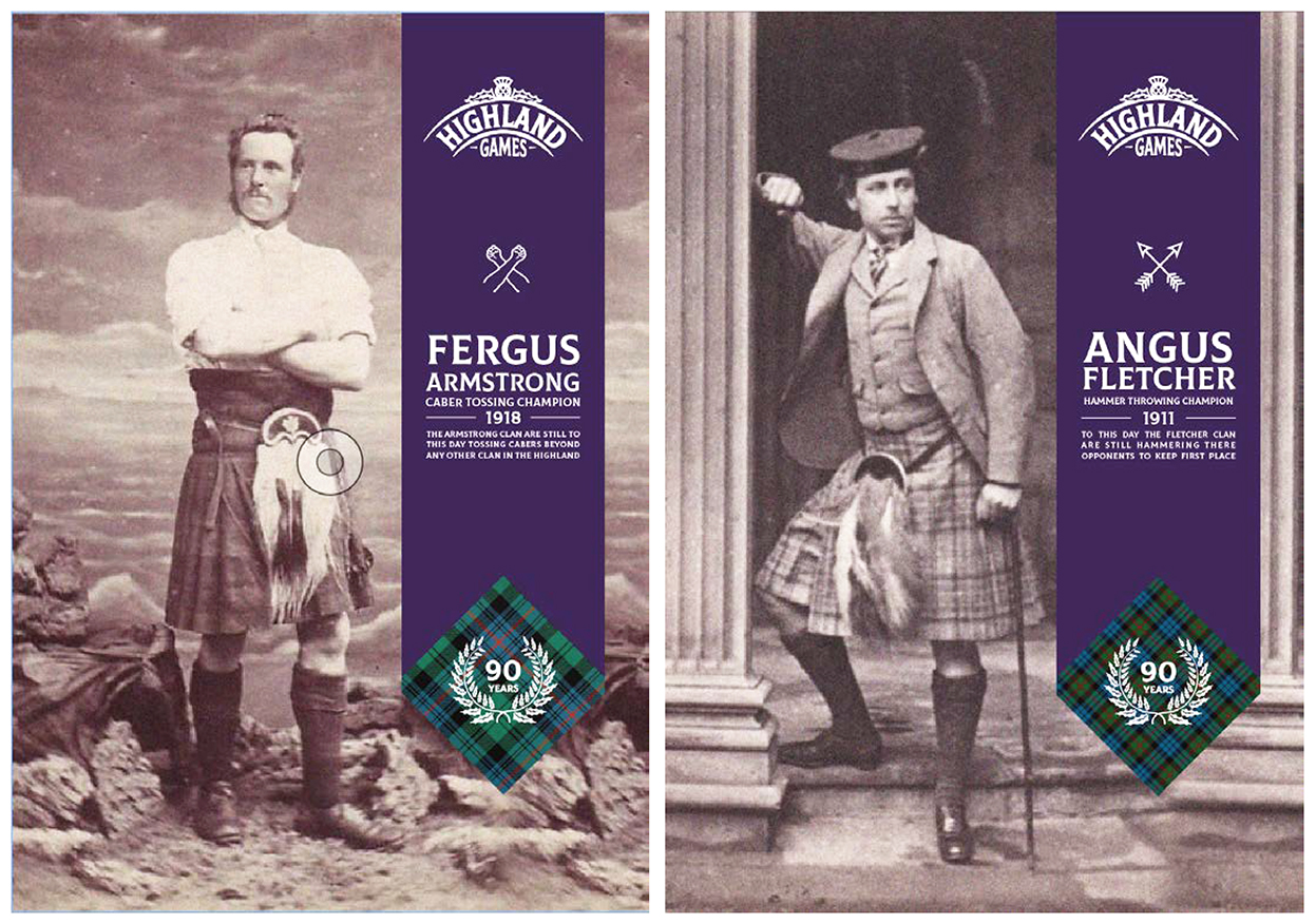Individual posters featuring famous clansmen