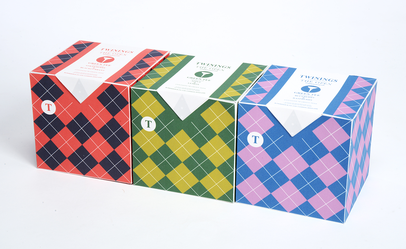 Box designs based on traditional golf attire.