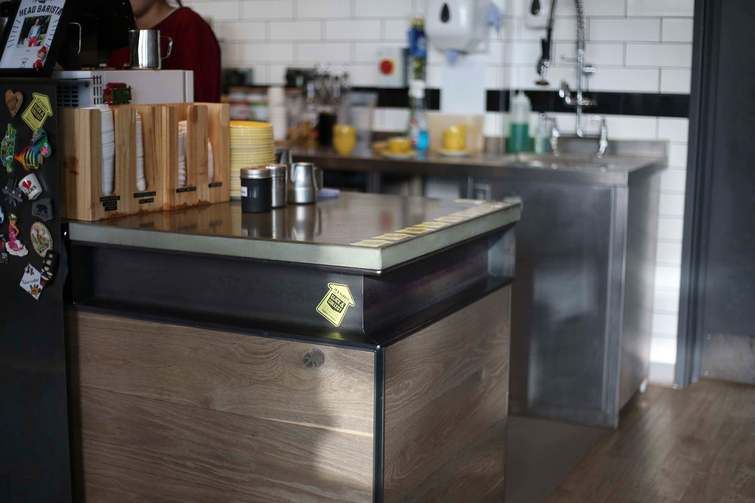 Cast and polished concrete worktops on a steel carcass for industrial look, Little Victories, Tinney and Co