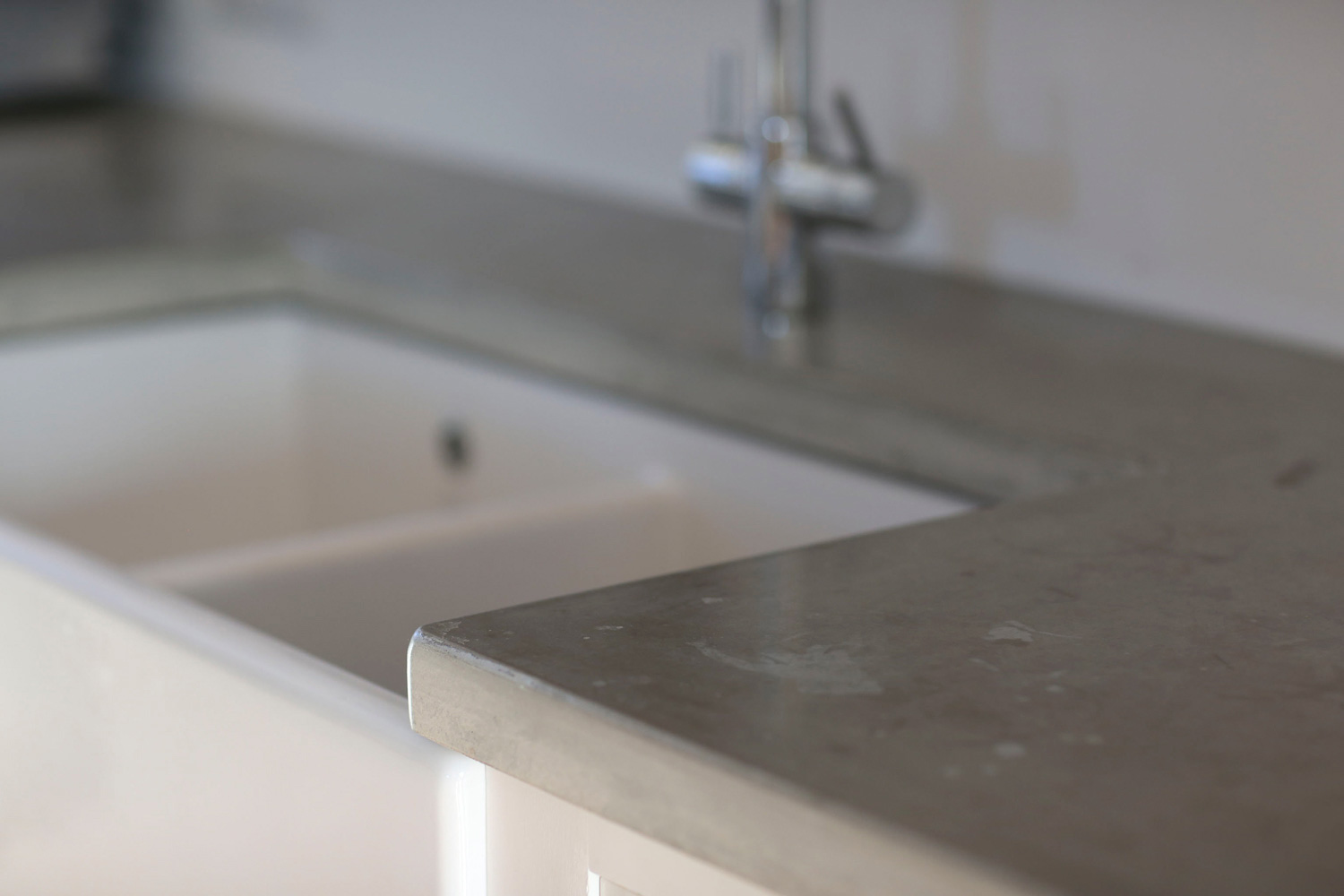Cast and polished concrete surrounding a Belfast sink, Tinney and Co