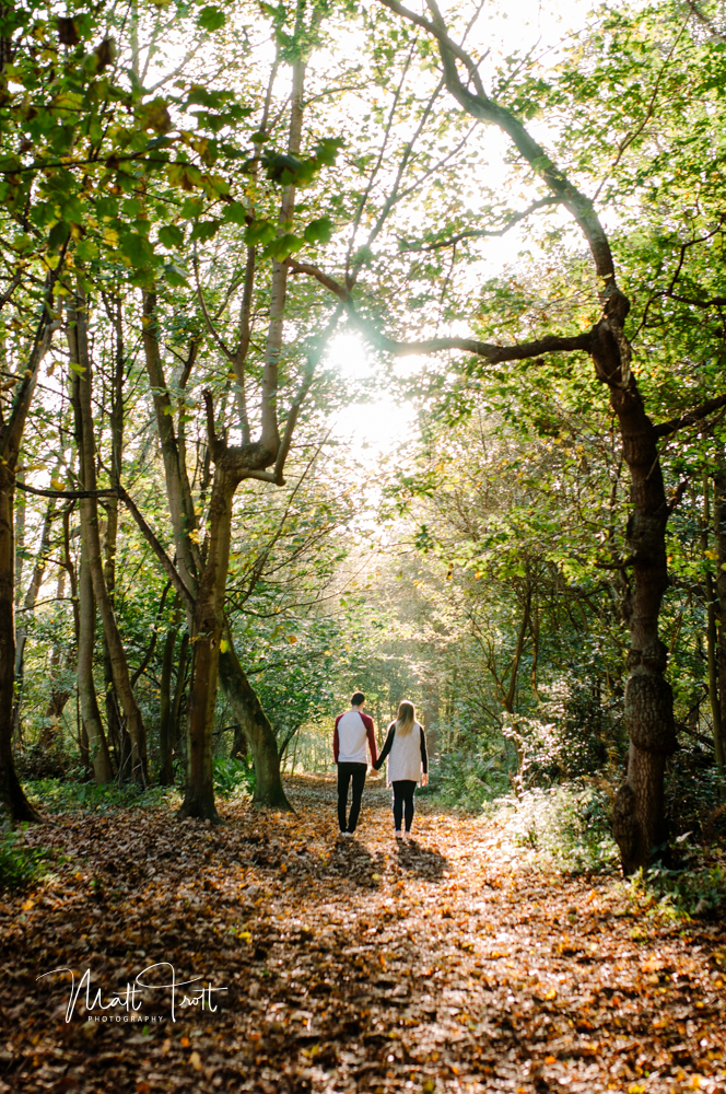 Holding hands and walking in ashenbank wood