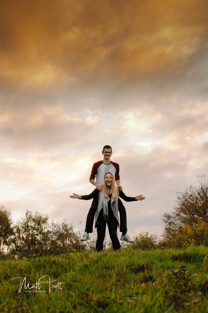 Sunset and couple in ashenbank wood