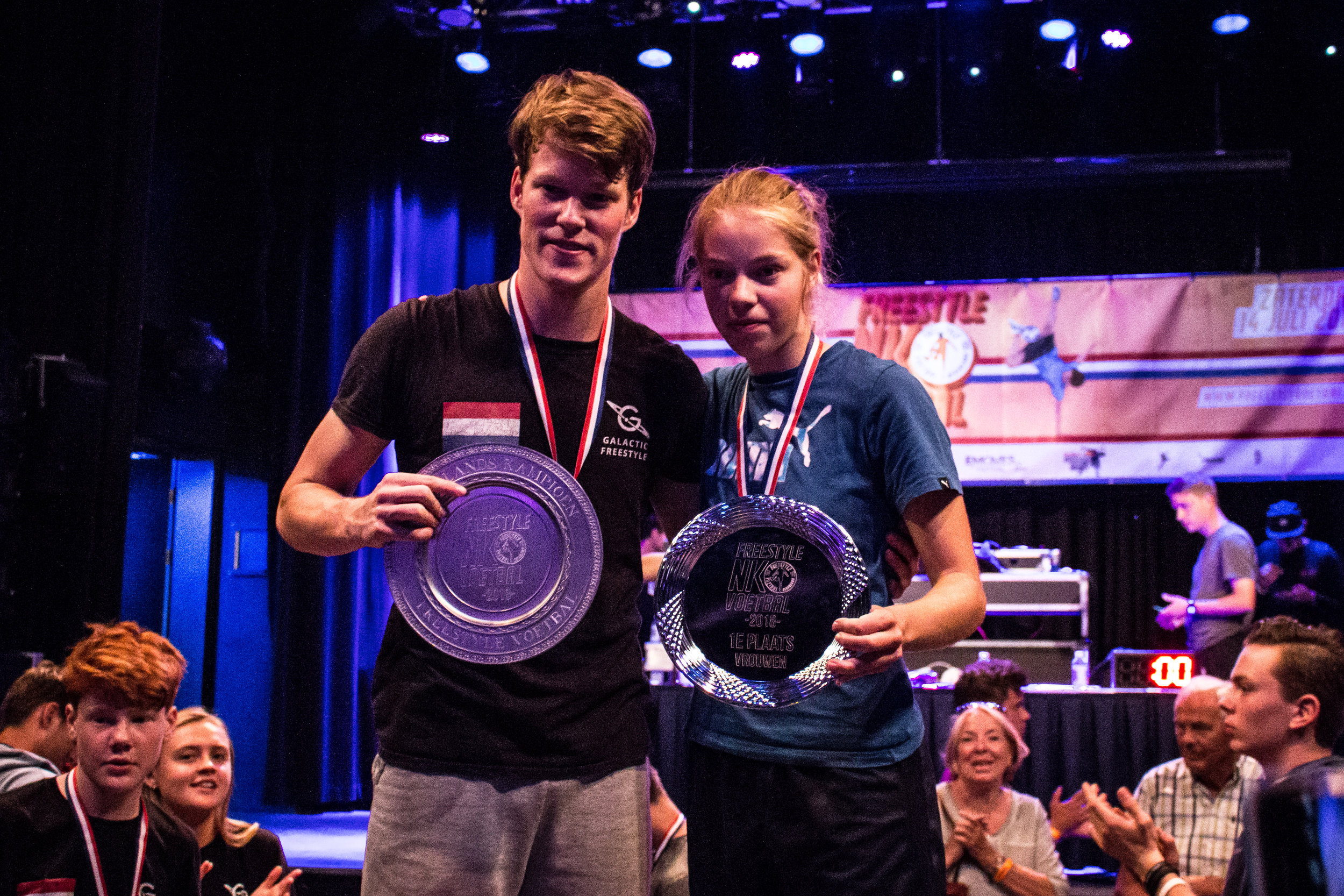 NK Freestyle Voetbal 2018 - Nederlands kampioenen Jesse Marlet & Laura Dekker