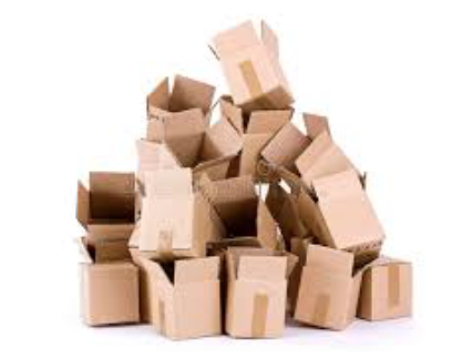Lining up cardboard boxes. -