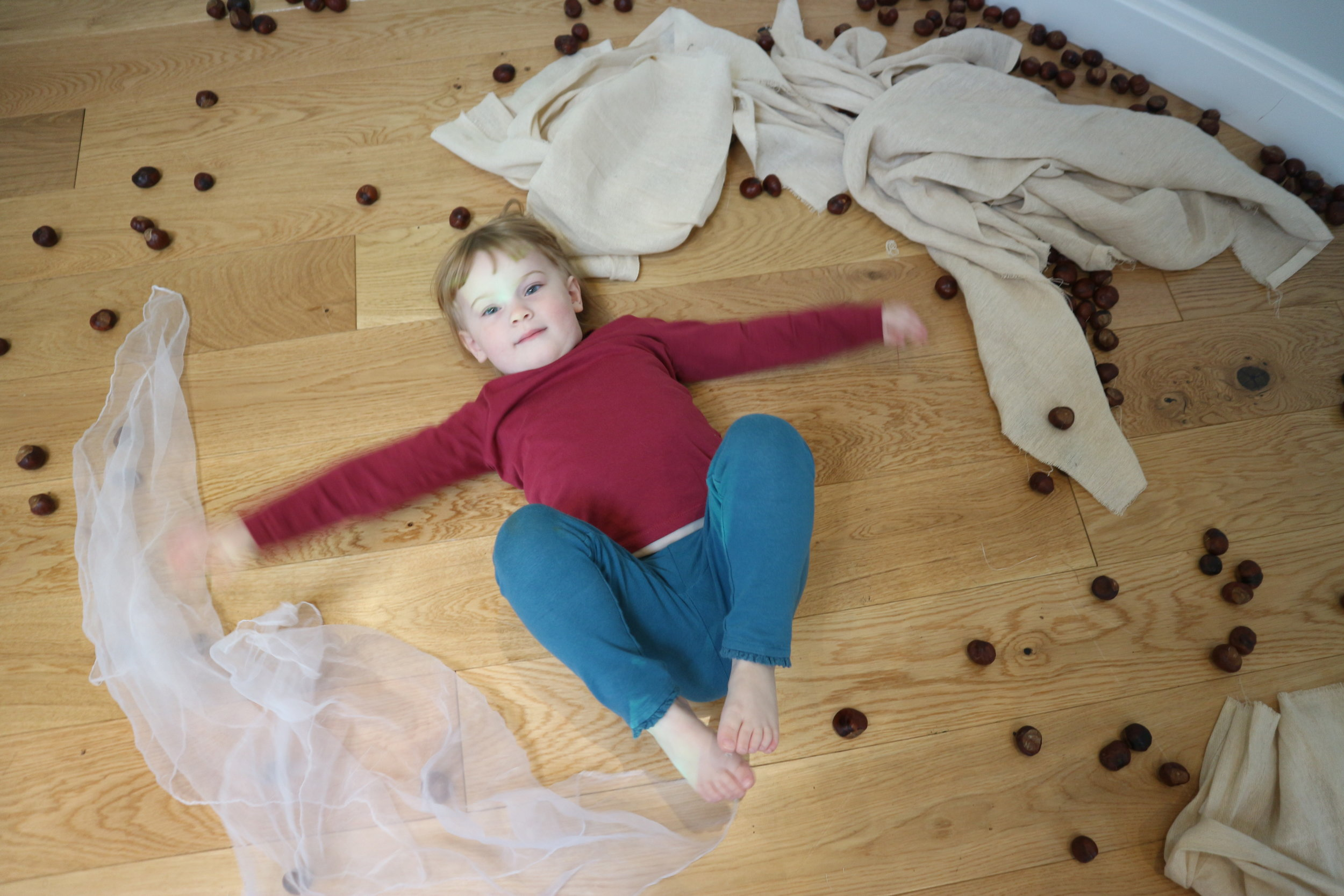 Autumn Angels - Immersed in the sensory materials, whooshing arms and legs