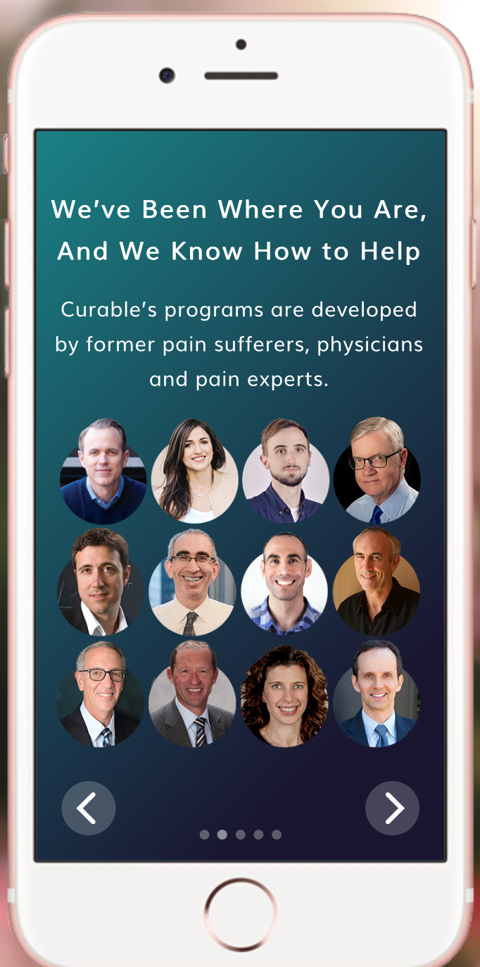 Every Curable user gets access to Clara, a virtual pain coach. Interacting with Clara is like text messaging a friend. Except in Clara's case, it's a friend who wants to talk to you about your pain, has a lot of scientific information at her fingertips, and sends you interesting new lessons and exercises that help you reverse the cycle of pain going on your brain. -