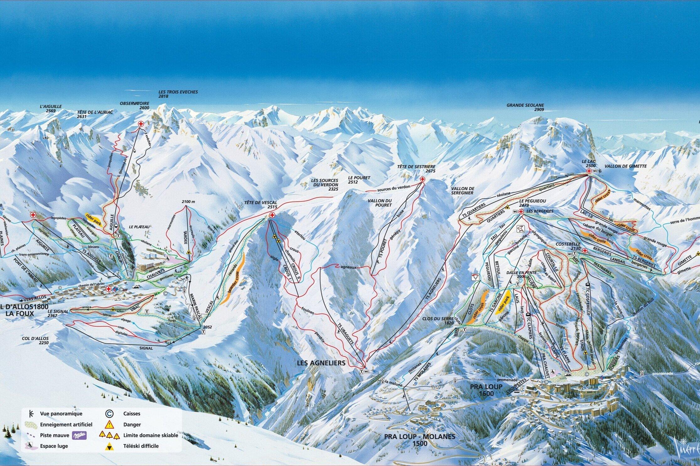 L'Espace Lumière - Es el dominio esquiable más grande de los Alpes del Sur, 230 Km. de Pistas, repartidos en 104 pistas para todos los niveles. En los últimos años ha renovado las instalaciones con los más modernos remontes.