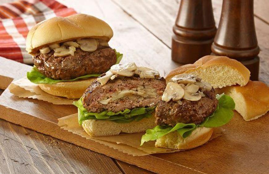 Mushroom Swiss Stuffed Burger Photo:  The Daily Meal