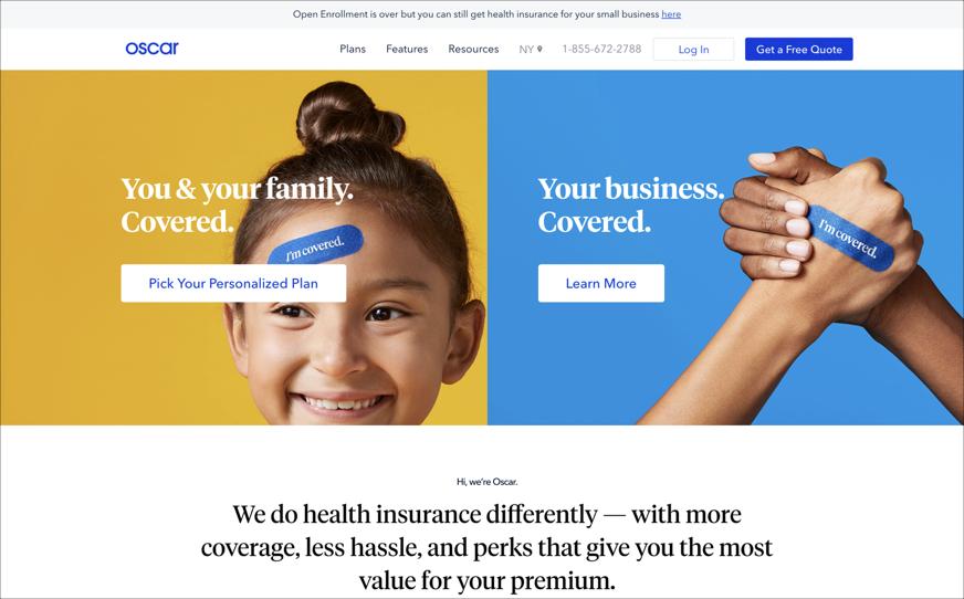 The Oscar Health homepage