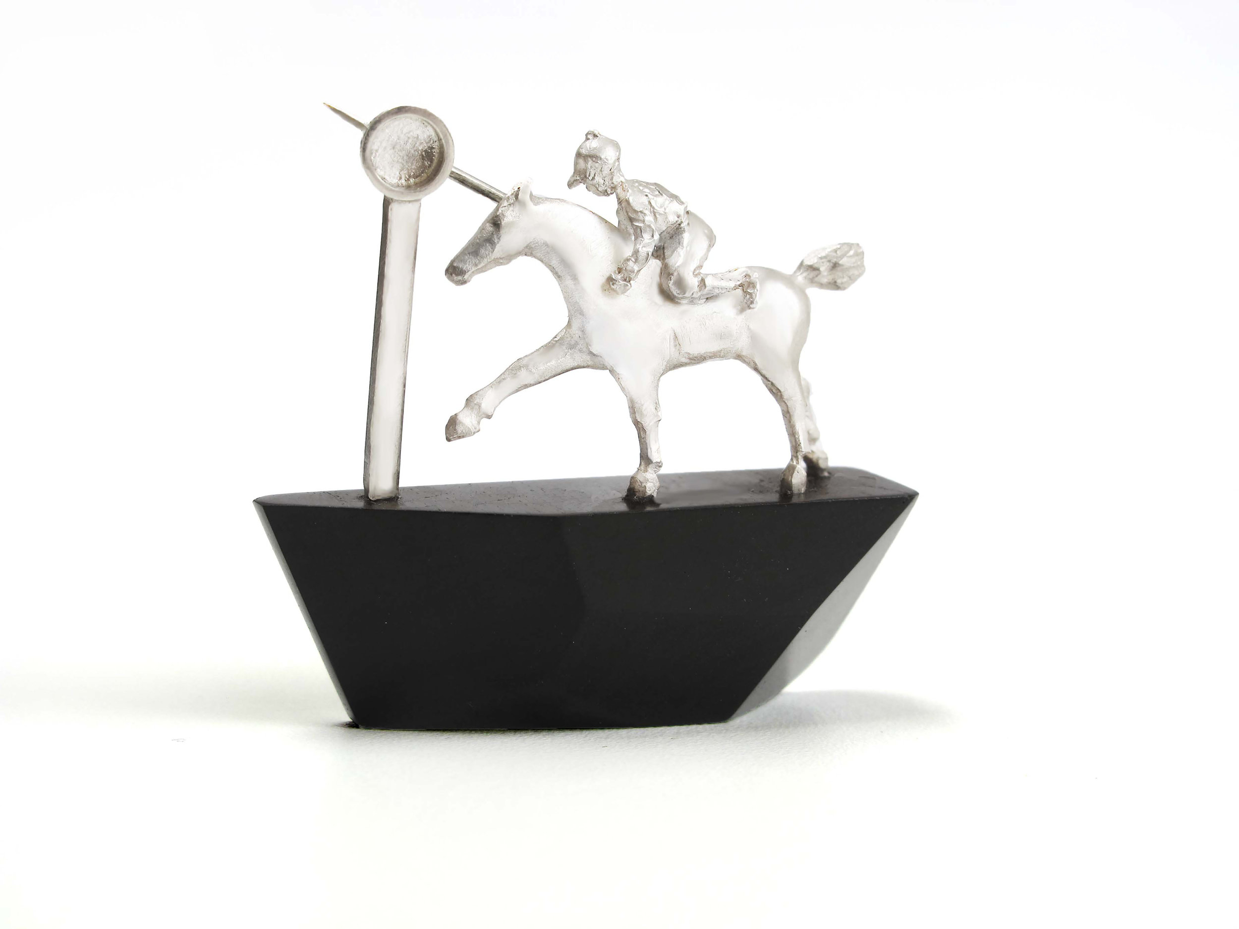 Horse Brooch in sterling silver. Horse racing finishing post Equines jewellery by Rachel Elizabeth Wood