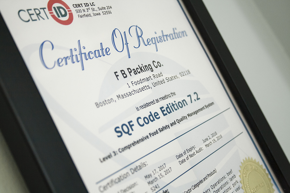 FB Packing SQF Certificate