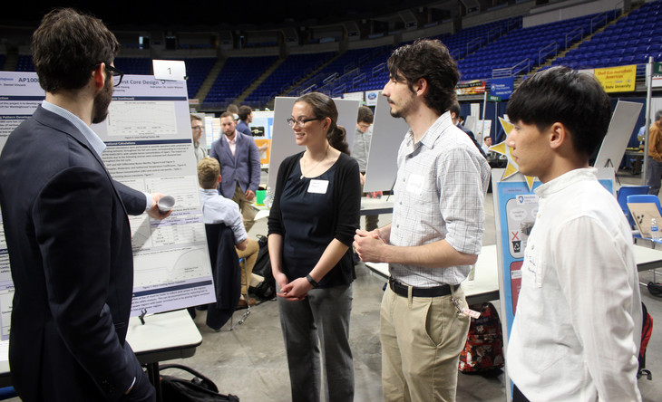 Students Explain Their Capstone Projects during the Design Showcase