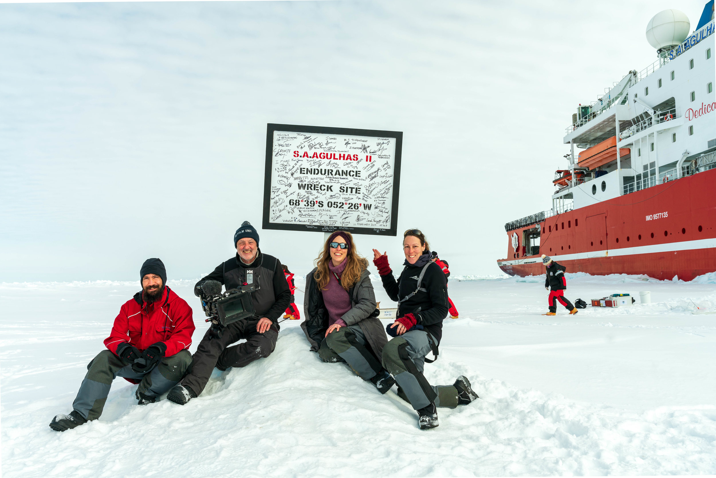 Team Shackleton on the Weddell Sea Expedition 2019  Left to Right: Kobus Loubser, Paul Williams, Olive King, Tamara Stubbs photo credit: helpful person passing by