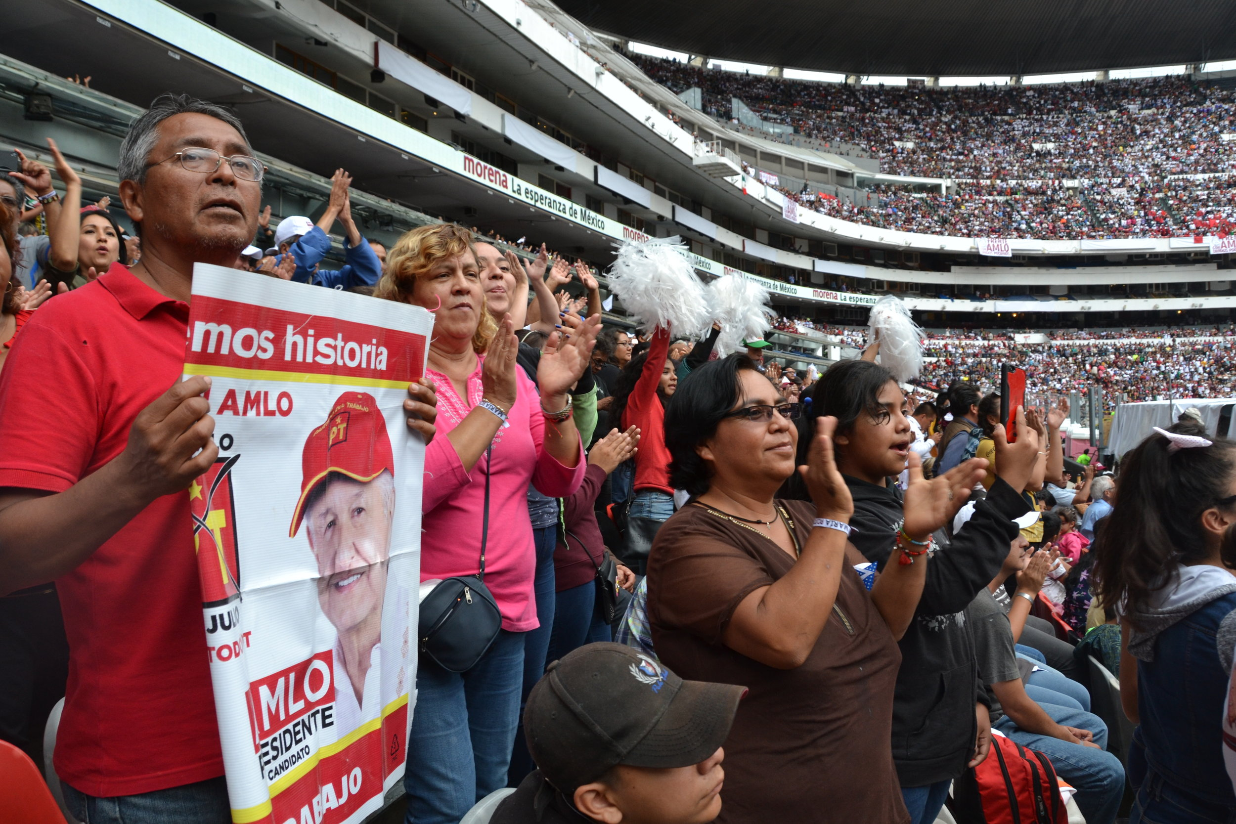 Supporters cheer at a rally for Lopez Obrador in Mexico City, June 27, 2018.  Photo: Oscar Lopez.