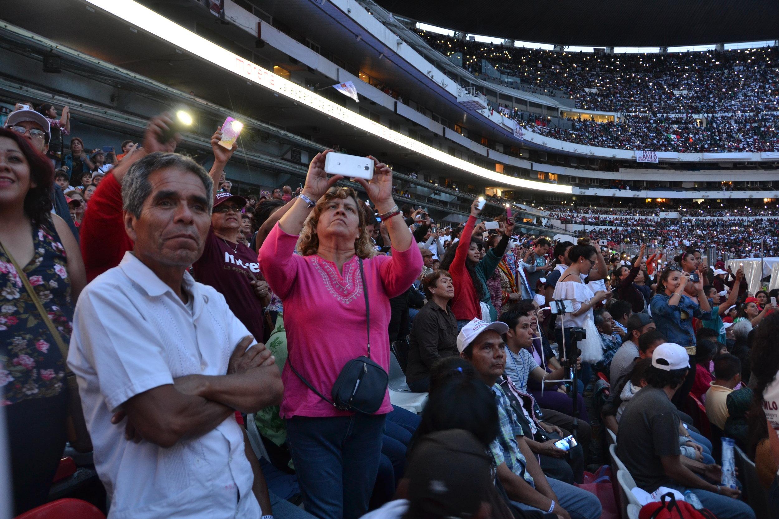 Javier Perez Ramirez, 65, at a rally for Lopez Obrador, June 27, 2018.  Photo: Oscar Lopez.