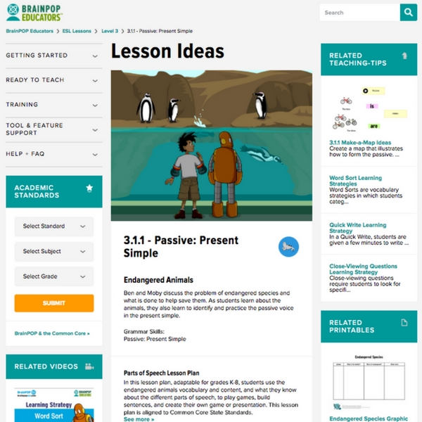 Comprehensive teacher support - BrainPOP ELL complies with TESOL ELP levels, CEFR levels and WIDA ELD levels.