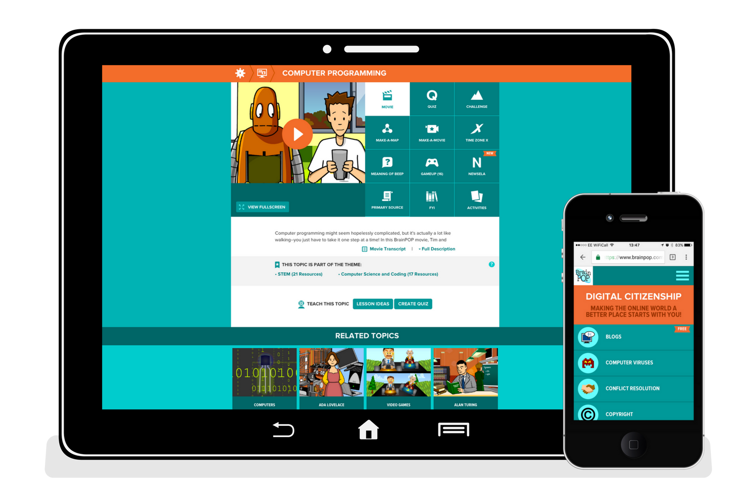 Let's talk tech - BrainPOP has been designed from the ground up to be fully mobile ready. We don't care what devices you use, we only care that you can deliver learning anywhere at anytime.Are you a Google school? You can integrate your BrainPOP subscription for single sign-on through G Suite for Education!Google Marketplace apps are available for both BrainPOP and BrainPOP Jr. The apps offer convenient single sign-on and My BrainPOP account provisioning.