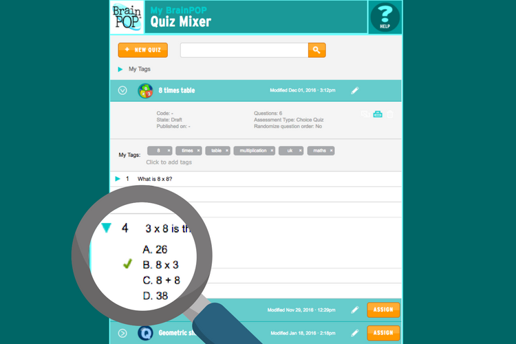 Make your own quizzes - Teachers can make (and assign) their own quizzes, polls, and surveys using our 'Quiz Mixer' tool. They can be assigned to individuals or whole classes, and results are submitted to the teacher.The opportunities are endless!
