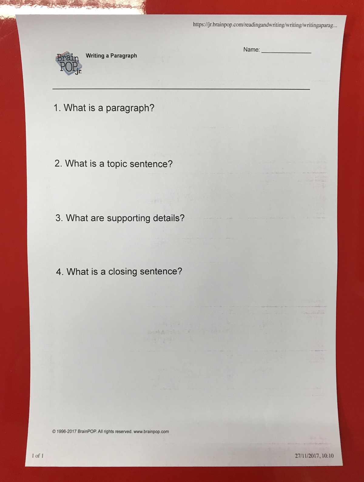 Print questions in advance to scaffold learning - Hit the print button underneath the Notebook to print a PDF file of all the questions from the movie. You can use this as a summation/Q&A sheet for pupils, or just as an aide memoir for your lesson.