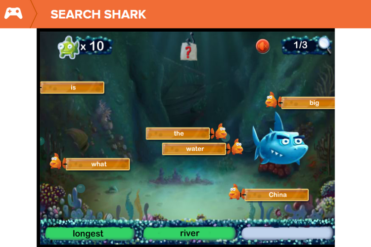 Search Shark - Search Shark is a great way for students to practice their search skills and develop their keyword strategies outside of the pressure of a real project.In this game students learn how to choose effective keywords for searching online. They practice selecting keywords that are most relevant to a search prompt. Along the way, students discover hints for narrowing their search results.Because student get instant feedback on whether their choices are correct this ensures that they both aren't distracted by thousands of unhelpful results and they don't become frustrated by not being able to work out why they haven't succeeded.