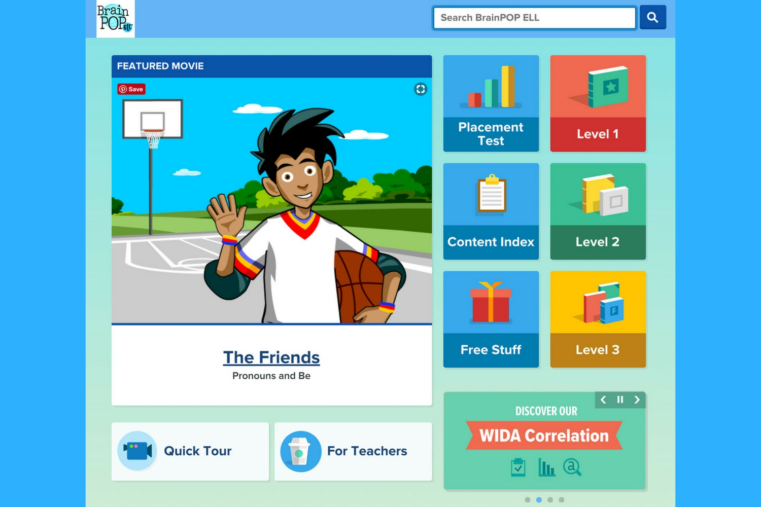 BrainPOP ELL home page